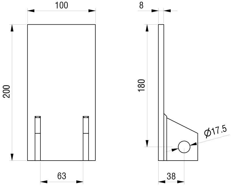 Schéma accessoires de supports de roue - Plaque de fixation arrière