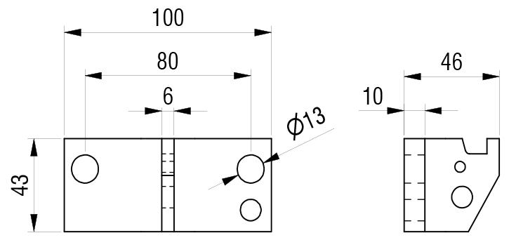 Schéma accessoires de supports de roue - Plaque avec crochet