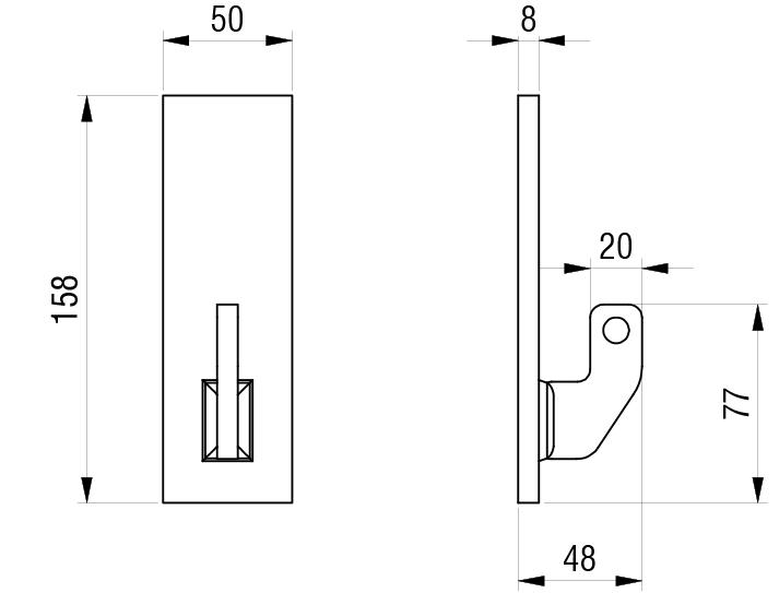 Schéma accessoires de supports de roue - Plaque de fixation avant avec crochet type CH