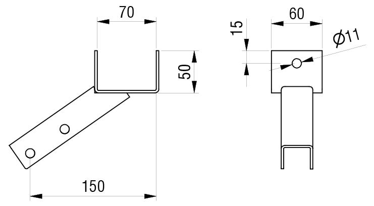 Schéma accessoires de supports de roue - Support de fixation arrière